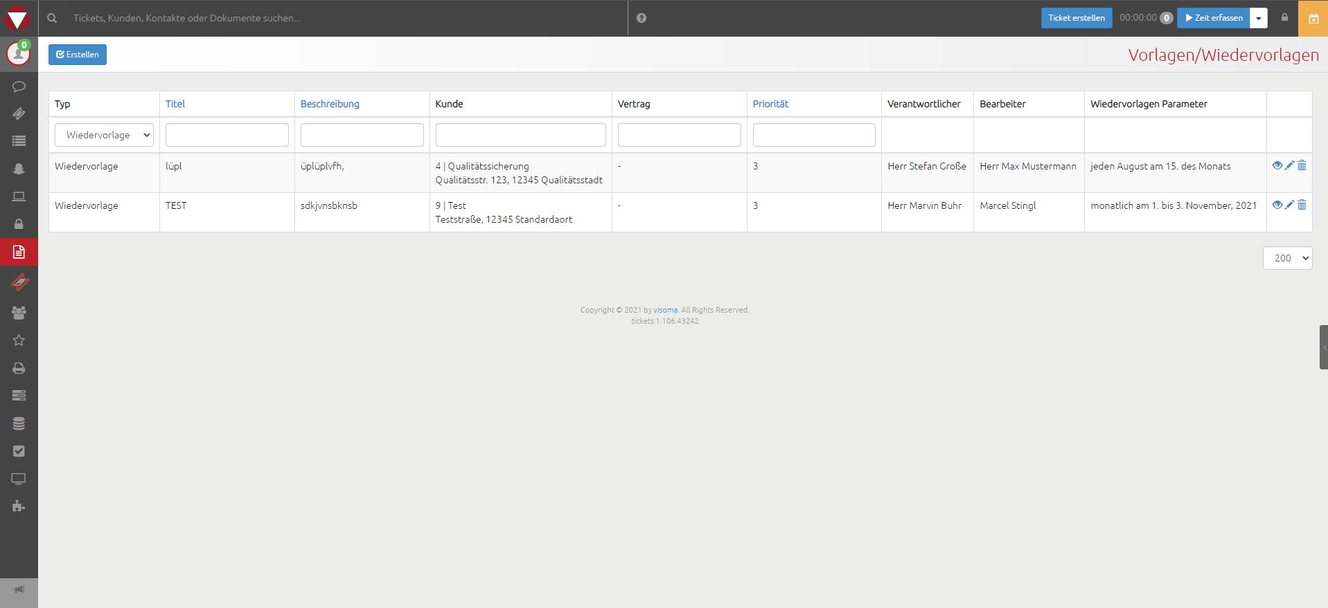visoma tickets Features Wiedervorlage Managed Service Prozess